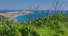 View to ocean beach from Cape Reinga, northland, New Zealand Stock Footage