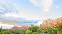 Time Lapse of Sunset Afterglow on Red Rock Mesas in Sedona, Arizona Stock Footage