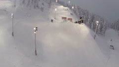 Ski Slope in Ruka Ski Resort, Finland Stock Footage