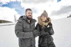 Two friends winter season Stock Photos