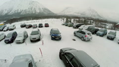 Car Driving out the Parking Area, Aerial View - stock footage