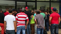 Cuban Immigrants Wait Outside Panama Immigration Service - stock footage