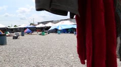 Pan Shot of Cuban Refugee Camp in Panama Stock Footage