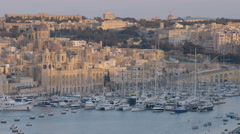 Aerial View of Sliema in Malta - Churches and Yachts Stock Footage