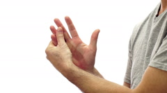 Male Hand Pain Isolated on White Stock Footage