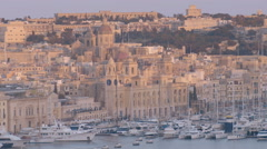 Aerial View a church by the sea in Sliema In Malta Stock Footage