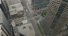 Tilt up to view of buildings at Wilshire and Figueroa in Downtown LA 4K Stock Footage
