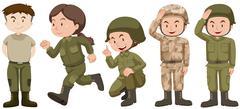 Set of people in soldier uniform Stock Illustration