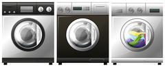 Washing machine with laundry inside Stock Illustration