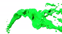 Flying green liquid flow in slow motion Stock Footage