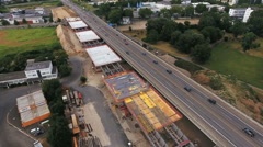 Large construction site - highway bridge A643, Wiesbaden-Mainz Stock Footage