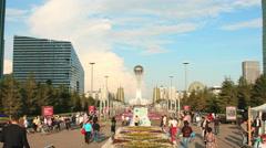 Bayterek Astana Flowersbed Time Lapse 4K Zoom Stock Footage