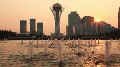 Bayterek Astana Sun Time Lapse 4K Stock Footage