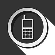 Icon - old mobile phone with antenna and shadow Stock Illustration