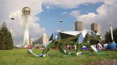 Irbis Astana Bayterek 4K Zoom Stock Footage