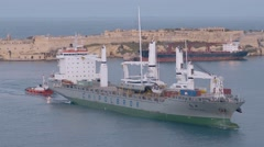 A Big Ship arriving in Valletta's Harbour Stock Footage