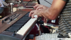 Musicians, drummer, Synthesizer Keyboard player. Stock Footage