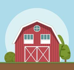 Red farm house,Vector illustration flat style Stock Illustration