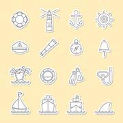 Marine and nautical line icon Stock Illustration