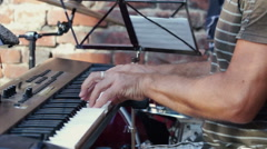Closeup shot of Hands of man Playing Electronic Piano. Stock Footage