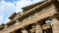 Close up of Temple of Neptune in Paestum. Italy - stock footage