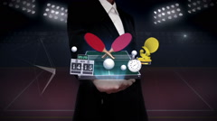 Businesswoman open palm, Around ping pong icon, ping pong table, rackets. - stock footage