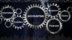 Gear, Management, Investors, Information, Creative. Businessman 'ACCOUNTING' Stock Footage