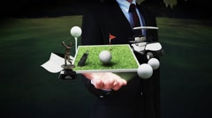 Businessman open palm, golf icon, golf bag, field, course, golf cart.golf clubs. - stock footage