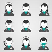 Doctors and medical staff icons set Stock Illustration
