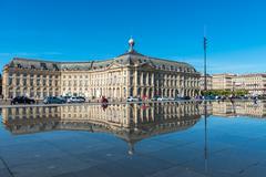 Mirror fountain in Bordeaux, France Stock Photos