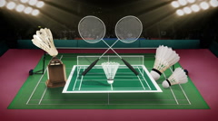 Badminton icon, shuttlecock, net, Badminton Stadium. - stock footage