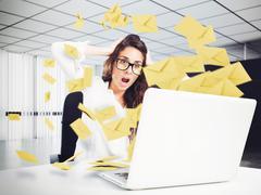 Despair and stress for spam e-mail Stock Photos