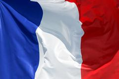 French flag floating in the wind exact colors Stock Photos
