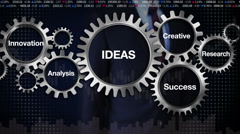 Gear, Research, Analysis, Creative, Innovation, Businessman touch 'IDEAS ' Stock Footage