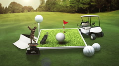 Golf icon, golf bag, field, course, golf cart.golf clubs. - stock footage