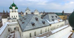 Aerial view of the Kremlin (1670-1683) in Rostov the Great, old russian town. Stock Footage
