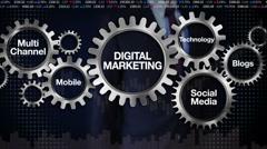 Gear, Technology, Social media, channel, Mobile, Businessman 'DIGITAL MARKETING' Stock Footage