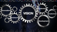 Gear, Innovation, Development, Leadership, Customer. Businessman 'VISION' Stock Footage