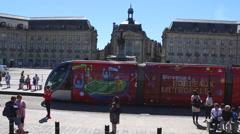 Bordeaux, France - Euro2016 Fanzone Bordeaux Tram Stock Footage