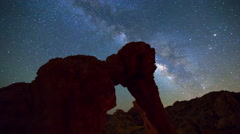 MoCo Astro Time Lapse of Milky Way over Elephant Rock in Valley of Fire -Zoom In Stock Footage