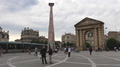 Bordeaux, France - Porte d'Aquitaine gate at Place de la Victoire. Stock Footage
