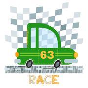 Green car t-shirt design vector illustration. Stock Illustration