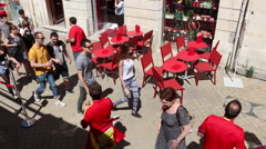 Bordeaux, France - Crowded Sidewalk with EuroCup Fans Stock Footage