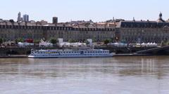 Bordeaux, France - Garonne River Riverboat Stock Footage