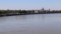 Bordeaux, France - Garonne River Small Boat Stock Footage