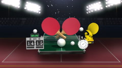 Around ping pong icon, ping pong table, rackets. - stock footage