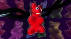 Horror gummy bears. Seamles animation background. Stock Footage