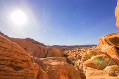 5K MoCo Tracking TimeLapse of Sunset over Red Rocks in Valley of Fire State Park Stock Footage