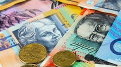 Australian money with notes and coins closeup. Arkistovideo
