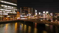 Night-lapse and illuminated river in Nakasu, Fukuoka Stock Footage
